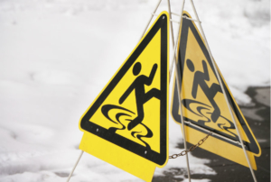 slip and fall liability cases - slip signage - winter risk management plan - Sauers inc