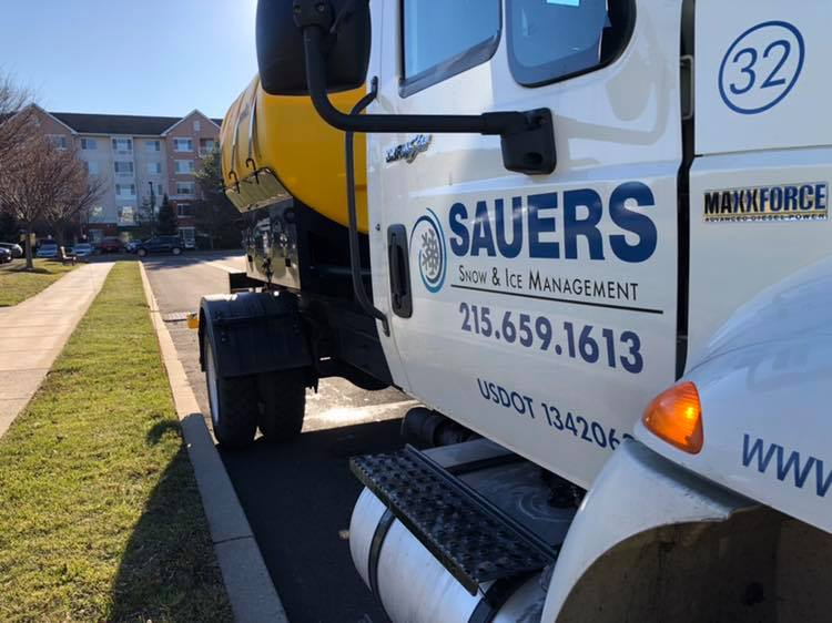 Sauers snow and ice management truck with brine